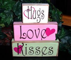 Hugs Love Kisses Valentine's Day Wood Blocks by SnickerdoodleSigns