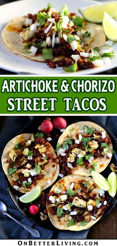 Easy Artichoke And Chorizo Tacos - Cherilynn Duffrie Pork Recipes, Mexican Food Recipes, Dinner Recipes, Cooking Recipes, Healthy Recipes, Chorizo Tacos, Tacos And Burritos, Pork Dishes, Lunches And Dinners