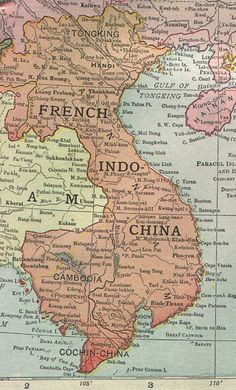 Historical Map - French Indochina 1913
