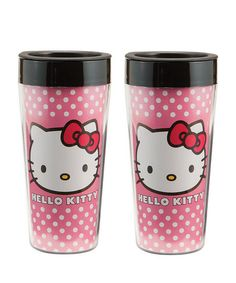 Pink Hello Kitty Travel Mug Set