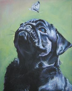 black Pug Giclee print from a painting by L.A.Shepard 8x10 inch ABOUT THE PRINT: This open edition image measures 8x10 inches and is printed on 8.5x11 flat CANVAS sheet with archival inks. I use a specially designed CANVAS for archival fine art prints. Your Giclee print will come on a