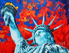 The Statue of Liberty also known as Lady Liberty is part of a Landmark painting series.  #landmarkart #statueofliberty