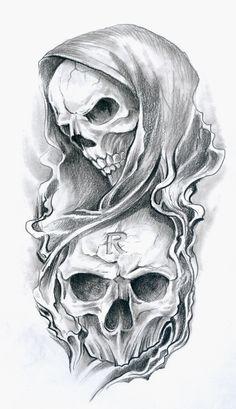 evil joker skull n 8 ball tattoo design tattoo ideas - tattoo skull sketch Evil Skull Tattoo, Grim Reaper Tattoo, Skull Tattoo Design, Skull Design, Skull Tattoos, Body Art Tattoos, Sleeve Tattoos, Tattoo Designs, Clown Tattoo