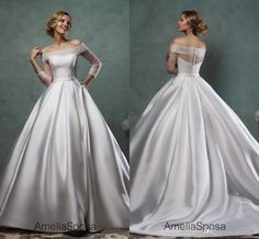Sheer Off-Shoulder Long Sleeves Wedding Dresses 2015 Court Train Ruched Satin Ball Gowns Amelia Sposa Garden Wedding Party Bridal Gowns #dhgatePin