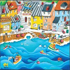 Little Cornish Harbour - Prints - Nanette Martin - Cornwall Art Galleries House Illustration, Illustrations, Homemade Art, Seascape Art, Beach Print, Naive Art, Whimsical Art, Beautiful Paintings, Art World