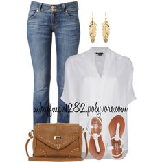 Oversized White Blouse, created by mhuffman1282 on Polyvore