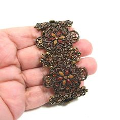 Vintage Inspired Amber Color Rhinestone Fancy Silver Tone Stretch Bracelet…