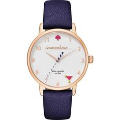 kate spade watches Messenger Bagstro Watch ($195) ❤ liked on Polyvore featuring jewelry, watches, blue, fashion accessories, leather-strap watches, blue watches and blue jewelry