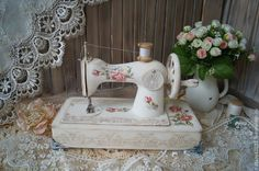 "Sewing Crafts ""ROSE"" children's sewing machine - shabby chic, retro, decoupage, white, ussr - ""ROSE""-children's sewing machine - buy or order in an online shop on Livemaster Shabby Vintage, Decoupage Vintage, Sewing Art, Sewing Crafts, Sewing Projects, Antique Sewing Machines, Retro Fabric, Sewing Table, Handmade Home"