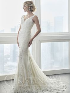 Wedding Dresses, Bridesmaid Dresses, Prom Dresses and Bridal Dresses Christina Wu Wedding Dresses - Style 15625 [15625] - Christina Wu Wedding Dresses, Spring 2017. Lace adorns the body of this stunning gown. Border lace, placed around the hem of the gown, compliments the lace used on the body. This dress features a stunning open back and has buttons that cover the back zipper. The dress is finished with