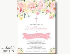 Primera comunión/arpillera Invitations/First invitar/Floral de