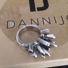 DANNIJO Beatrix Ring Oxidized silver statement ring. Adds edge to any look. Spikes measure 5mm long. Size 8. The deliberate darkening of metal allows for a signature one of a kind aesthetic. Handmade and card with signature of the artisan included. DANNIJO Jewelry Rings