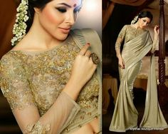 Gold saree with sequined blouse