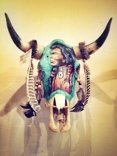 Hand painted cow skull.