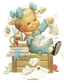 A happy girl Illustration by Ruth Morehead Sarah Kay, Vintage Cards, Vintage Postcards, Cute Images, Cute Pictures, Bing Images, Decoupage, Art Mignon, Baby Clip Art
