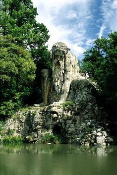 Huge 16 C. statue known as the Apennine Colossus by Giambologna in garden of the Villa Demidoff di Pratolino, Tuscany.