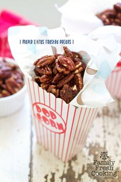 Maple Citrus Roasted Pecans recipe on Family Fresh Cooking blog