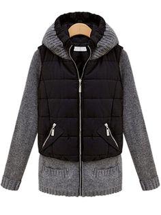 Casual Slim Knit Patchwork Long Sleeve Hood Coat - Gchoic.com