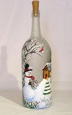 me ~ Snowman Painted Wine Bottle, Painted Bottle Lamp Glass Bottle Crafts, Wine Bottle Art, Painted Wine Bottles, Lighted Wine Bottles, Bottle Lights, Bottle Bottle, Decorated Bottles, Bottle Lamps, Painted Wine Glasses