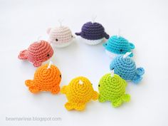 inspired by the Amigurumi pattern for crab and whale by designer Airali Handmade. Whales in all colours of the rainbow!