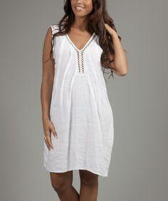 Love this La Belle Hélène White Alice Linen V-Neck Shift Dress by La Belle Hélène on #zulily! #zulilyfinds
