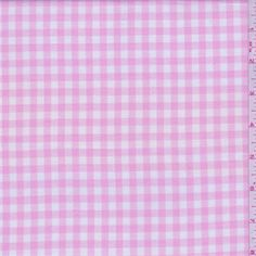 """Baby pink and white yarn dyed 1/4"""" check. Lightweight 100% cotton fabric with a soft, yet crisp hand. Suitable for blouses and shirts. Machine washable.Compare to $12.00/yd"""