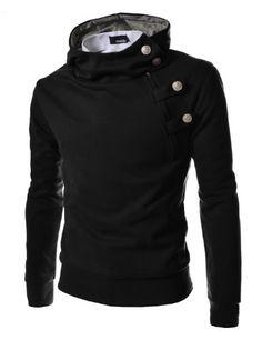 cheaper 9200c 4aa3a  30.99 TheLees Mens casual luxury buckle hoodie slim sweatshirt s Black  Large(US Medium