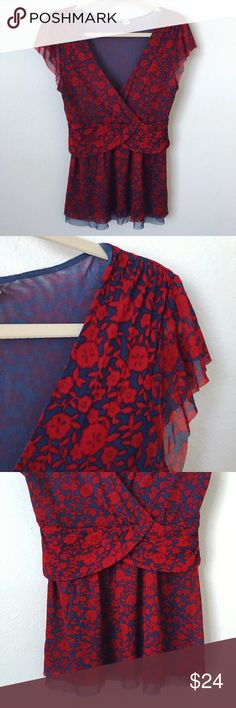 """Anthropologie Ric Rac Floral Mesh Top Anthropologie Ric Rac top with a blue and red floral pattern, cap sleeves, and ruching around waist. Super fun! 🌹 Approximate flat measurements: 17"""" bust • 17"""" waist • 26.5"""" long. 100% nylon - stretchy! EUC. Brand tag is missing. Anthropologie Tops"""