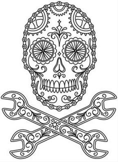 Spanner skull. Day if the dead. Colouring in.