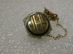 Vintage 1929 14kt gold MHS School pin with year on Chain-Engraved A.H.M. on back #Unbranded