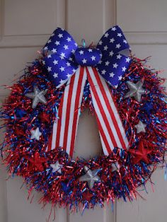 4th of July wreath with everything from the dollar stores#Repin By:Pinterest++ for iPad# Holiday Door Wreaths, Easter Wreaths, Wreaths For Front Door, Mesh Wreaths, July Crafts, Summer Crafts, Independence Day, Wreath Ideas, Wreath Crafts