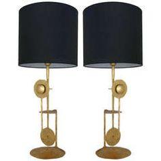 Pair of Italian Gilt Metal Lamps