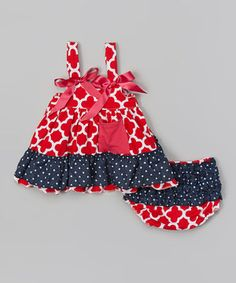 Love this Tutus by Tutu AND Lulu Red Quatrefoil & Navy Swing Top & Diaper Cover - Infant by Tutus by Tutu AND Lulu on #zulily! #zulilyfinds