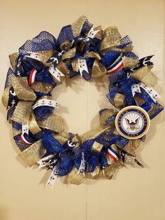 Items similar to Navy Wreath on Etsy Army Wreath, Military Wreath, Military Crafts, Patriotic Wreath, Patriotic Decorations, Military Decorations, Stall Decorations, Wreath Crafts, Wreath Ideas