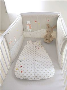 Tour de lit bébé - gris imprime