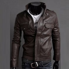 2016 Classic Style Motorcycling PU Leather Jackets Men Slim Male Motor Jacket Men s Clothes. Click visit to buy