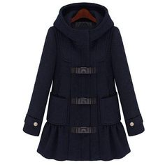 Hooded Long Sleeve Worsted Ruffled Coat