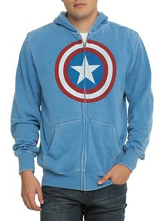 Marvel Captain America Shield Mineral Wash Zip Hoodie | Hot Topic