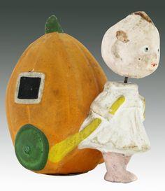 Vintage Halloween Nodder Girl Pumpkin Candy Container