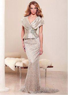 Glamorous Taffeta Sheath V-neck Neckline Cape-sleeve Full-length Mother of the Bride Dress