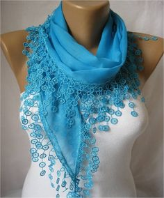 New Elegant  Cotton Scarf with Trim Edge Gift by MebaDesign, $13.90
