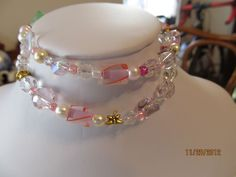 Pink  Swarovski and Fired Glass Braclet- No clasp