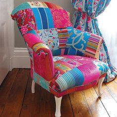 fauteuil patchwork, habiller une chaise de manière originale