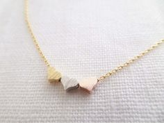 Tiny 3 hearts necklaces gold silver and by TiffanyAvenueBridal