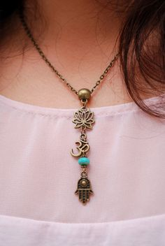 Hippie boho necklace, lotus jewellery, yoga style, ohm charm, hamsa hand pendant, emerald bead necklace, bronze tone chain, beach wedding