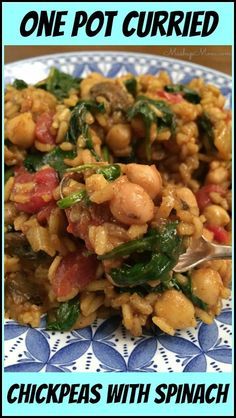 One Pot Curried Chickpeas with Spinach -- An easy vegetarian one pot dinner recipe for Meatless Monday (or any day!). Naturally gluten free & dairy free. http://www.mashupmom.com/one-pot-curried-chickpeas-with-spinach/