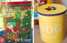 DIY Pet Food Canister.... I Definitely need to do something like this for my cat's food -_- They claw through the bags!!