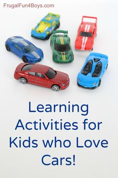 15 Learning Activities with Hot Wheels or Matchbox cars. Letters, counting, beginning reading, etc. Great ideas!