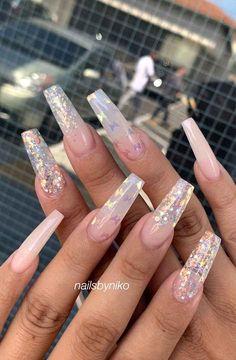 100 Gorgeous nail art design ideas,wedding nails with glitter,bridal nails,nail . Blue Acrylic Nails, Acrylic Nails Coffin Short, Acrylic Nail Designs, Colourful Acrylic Nails, Blue Glitter Nails, Matte Nails, Nail Art Designs, Almond Nails French, French Nails