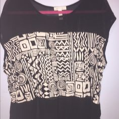 Tribal print top with sheer top and bottom panels Never worn. Tribal pattern top with sheer top and bottom panels. Ambiance Apparel Tops Tees - Short Sleeve